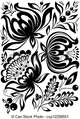 abstract black and white flowers. Stylish retro ornament. design element.