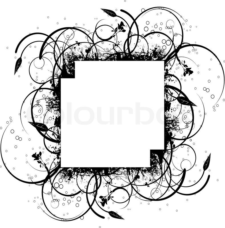Stock vector of \'Abstract floral ink splat border design in.