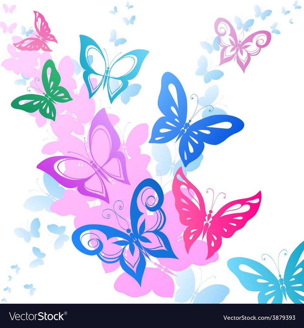Background of abstract butterflies flying.