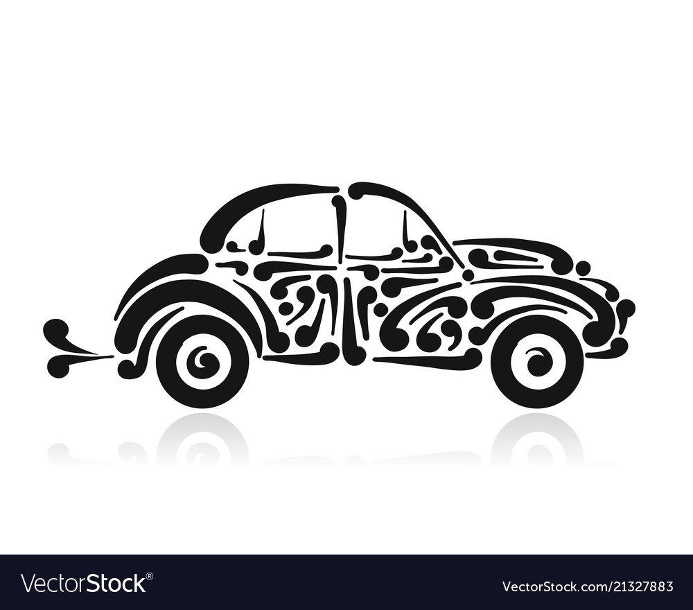 Retro car abstract painted silhouette for your.