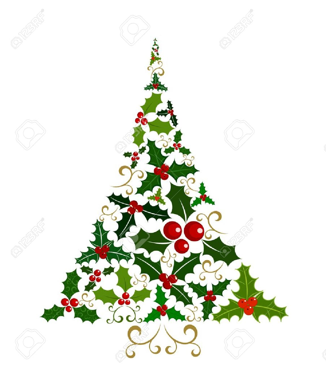Abstract Christmas tree isolated made of various holly berry...