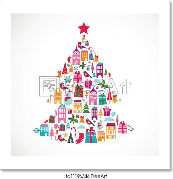 Free art print of Abstract christmas tree with cute icons and design element.