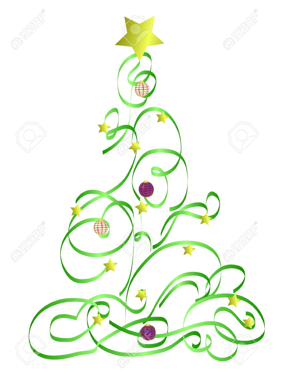 Abstract Christmas Tree Illustration.