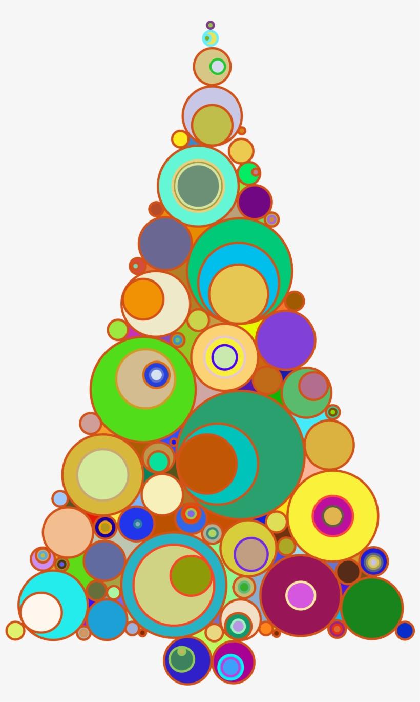 Colorful Abstract Circles Christmas Tree.