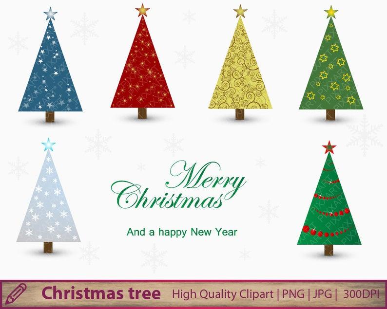 Christmas tree clipart, abstract xmas clip art, digital christmas tree,  scrapbooking, digital instant download, png jpg 300dpi.