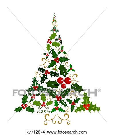 Holly Christmas tree Clipart.