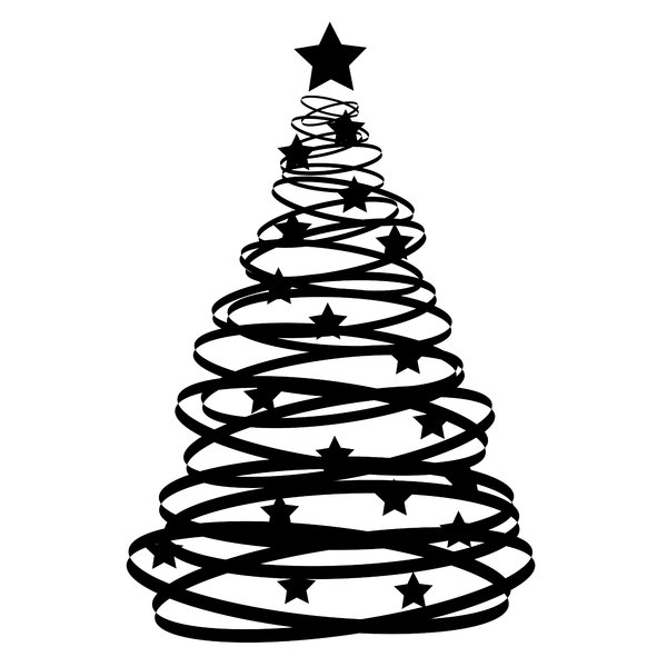 Abstract White Christmas Tree Clipart.