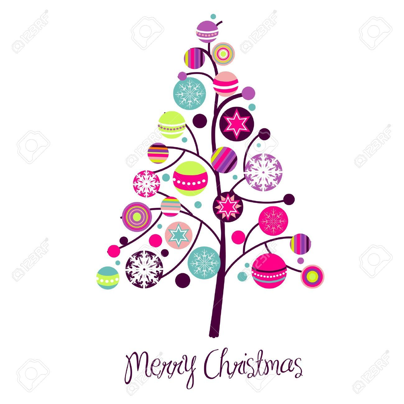 pink christmas tree clip art.
