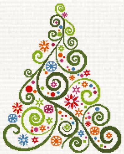 Abstract Christmas Tree Cross Stitch Pattern.