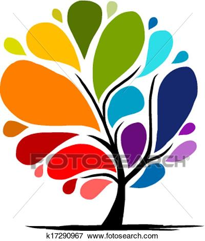 Abstract rainbow tree for your design Clip Art.