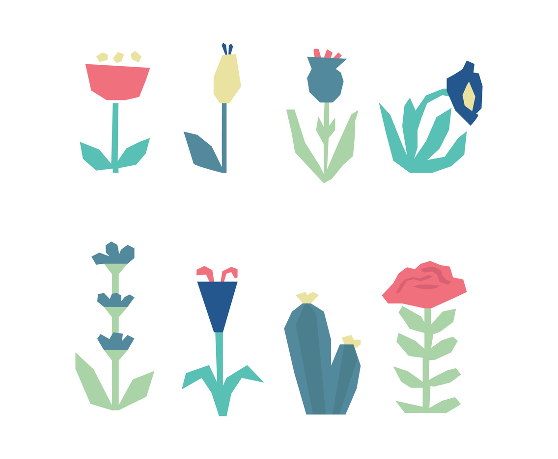 Abstract Set Of Clipart Flowers Vector Art & Graphics.