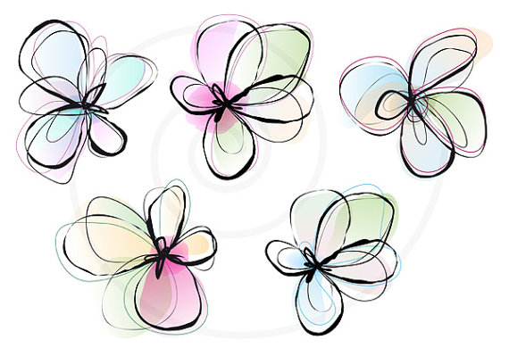 Abstract spring flowers, digital clip art set, ink drawing.