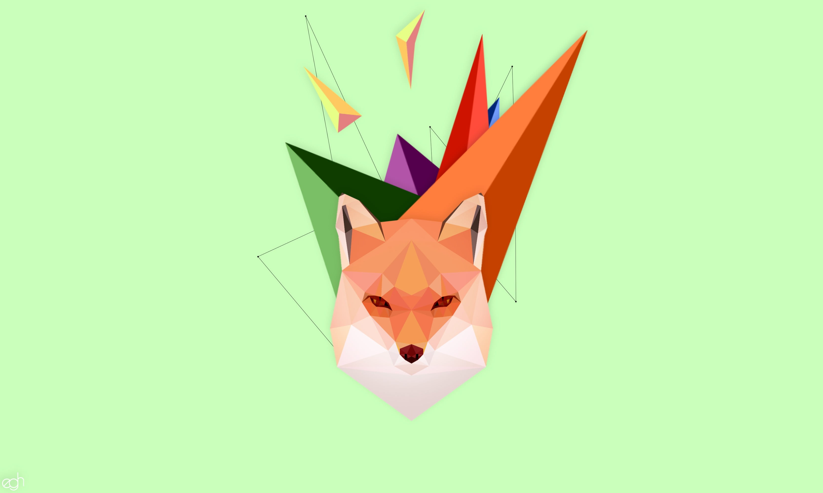 Animal clipart, fox, green, abstract, geometry HD wallpaper.