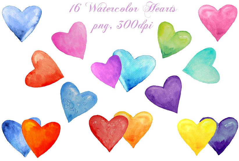 Watercolor Clipart Abstract Hearts ~ Illustrations on.