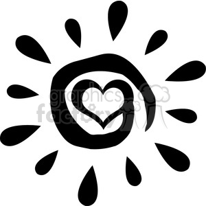 black abstract sun silhouette with heart simple design vector illustration  isolated on white background clipart. Royalty.