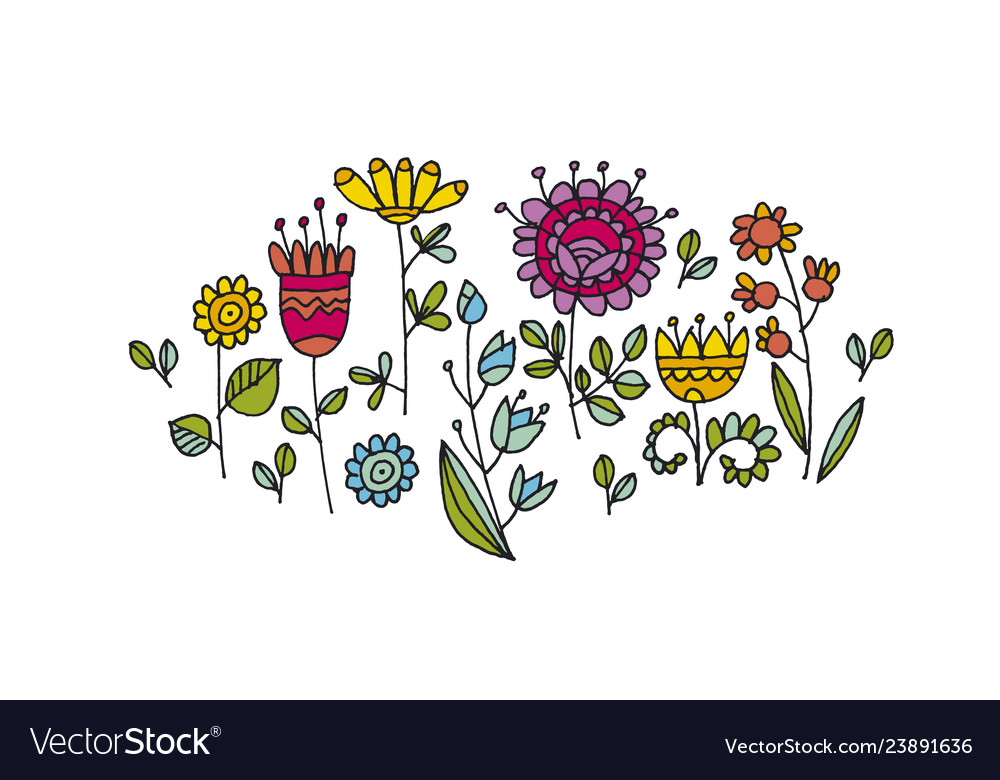 Abstract flowers hand drawn color clipart.