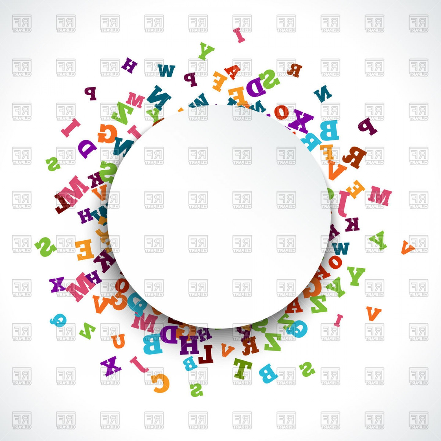 Abstract Colorful Alphabet Round Border Vector Clipart.