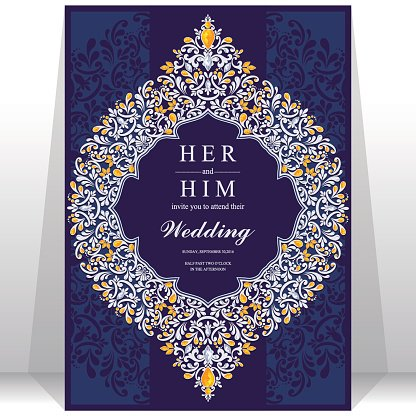 Wedding invitation or card with abstract background. Clipart.