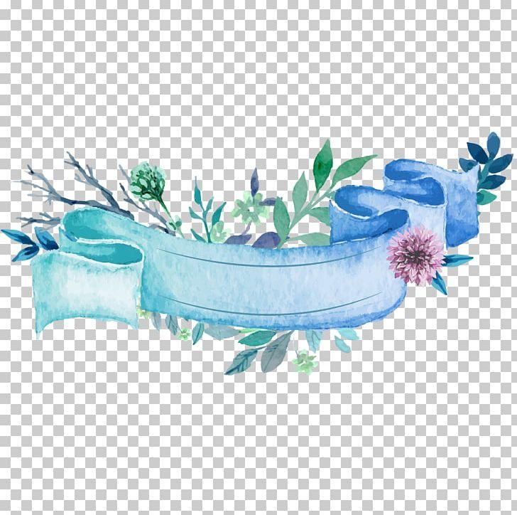 Wedding Invitation Paper Ribbon Watercolor Painting PNG.