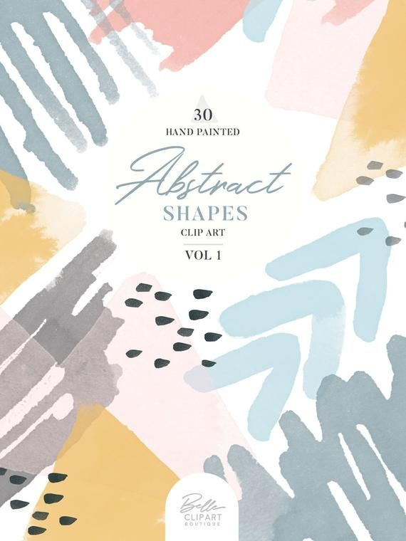 Abstract Watercolor shapes VOL 1, 30 hand painted clipart.