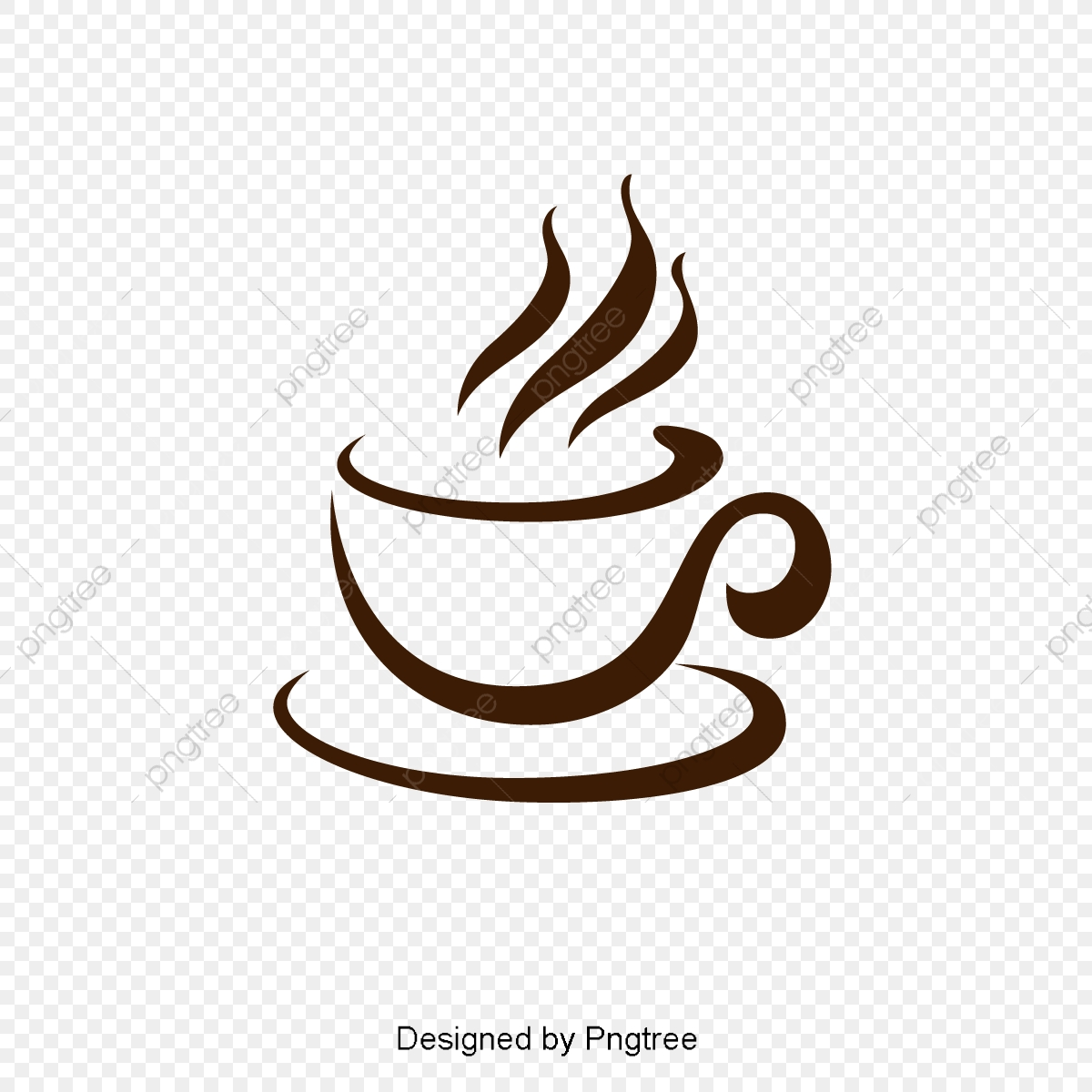 Simple Abstract Coffee Cup Element, Brown, Hot Air, Dishes.
