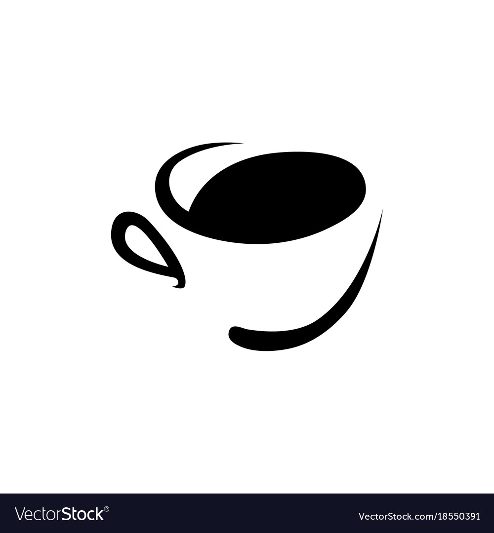 Abstract coffee cup logo on white.