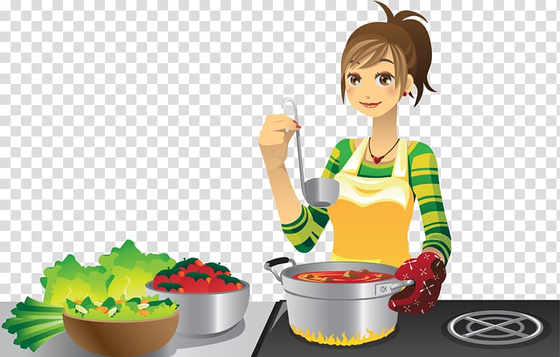 Woman cooking cartoon , Cooking Illustration, Cook girl.
