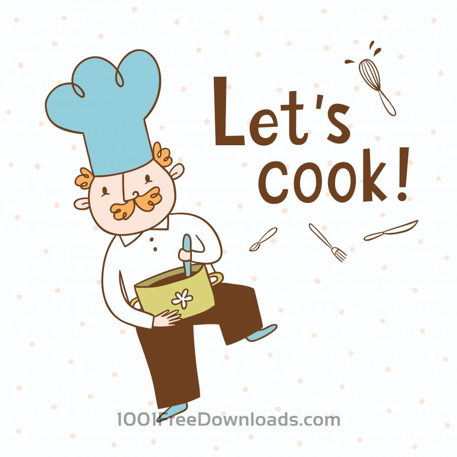Free Vectors: Let\'s cook. Vector illustration of a cook.