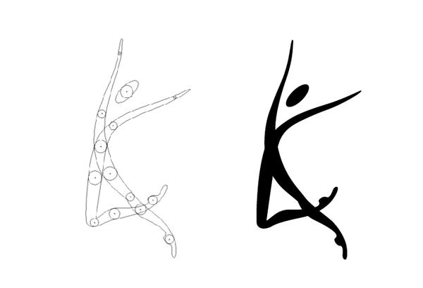 An organic dancer silhouette.