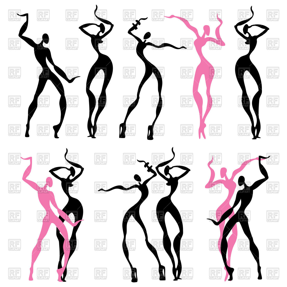 Silhouette of women's abstract dancing figures Stock Vector Image.