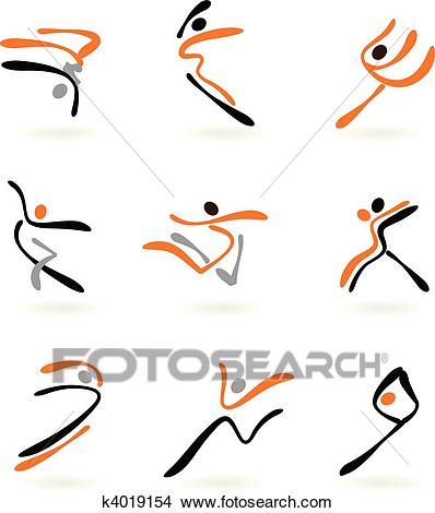 Abstract dancers 2 Clipart.