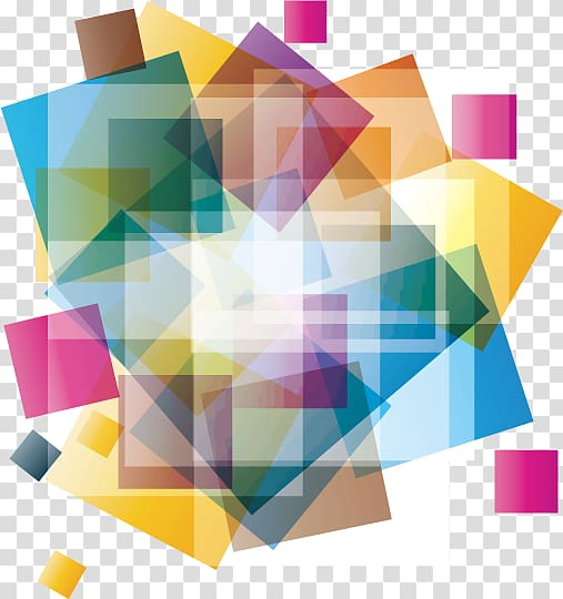 Blue, green, yellow, and pink geometric pattern illustration.