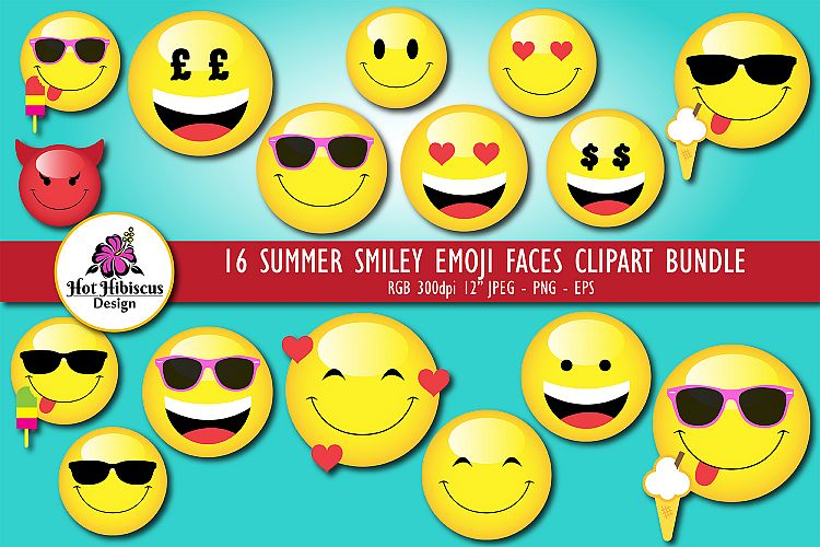 Summer Smiley Emoji Faces Graphic Clipart Bundle.