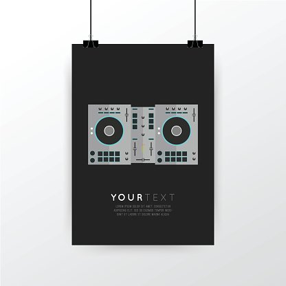 A4 / A3 format poster minimal abstract DJ Turntables design.