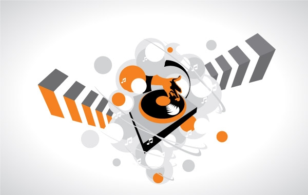 Abstract DJ Turntable Clipart Graphic.