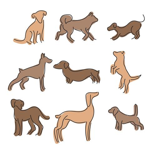 Set of Lined Abstract Dogs.