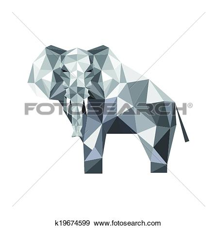 Clip Art of abstract origami elephant k19674599.