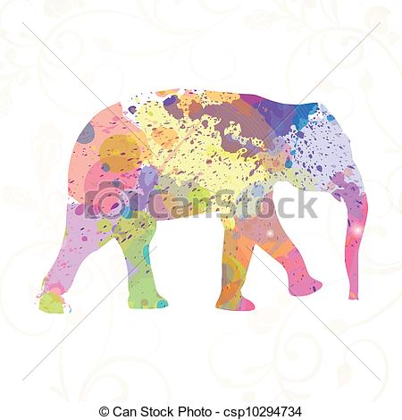 Vector Clip Art of Abstract Vector Elephant.