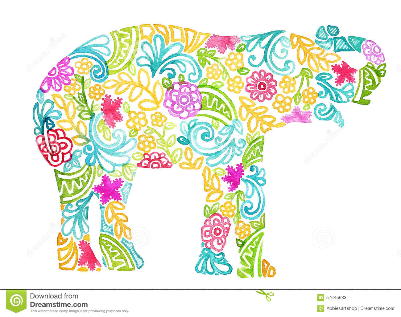 Abstract Watercolor Painted Elephant Design On White Background.