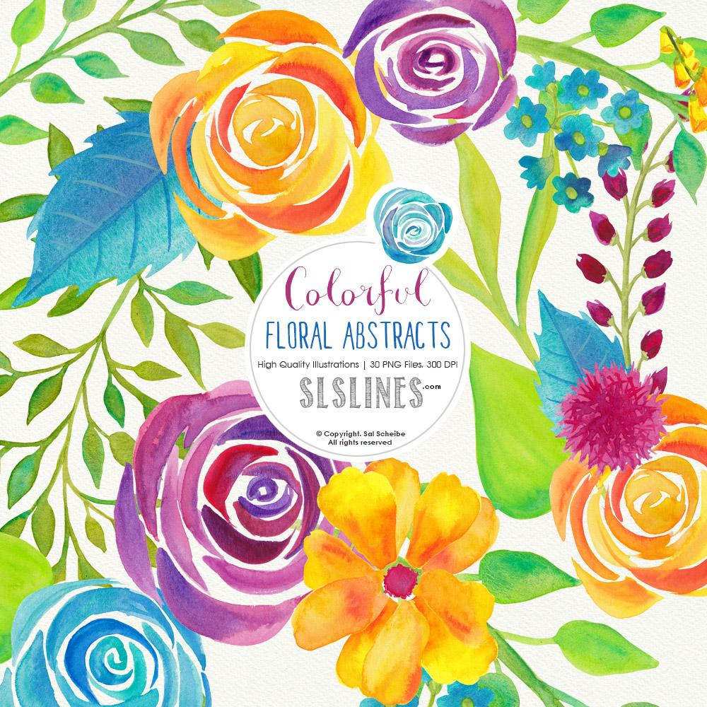 Colorful Floral Abstracts Watercolor Clipart.
