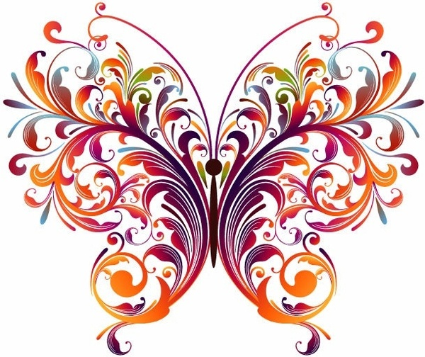 Abstract Floral Butterfly Vector Graphic Free vector in.