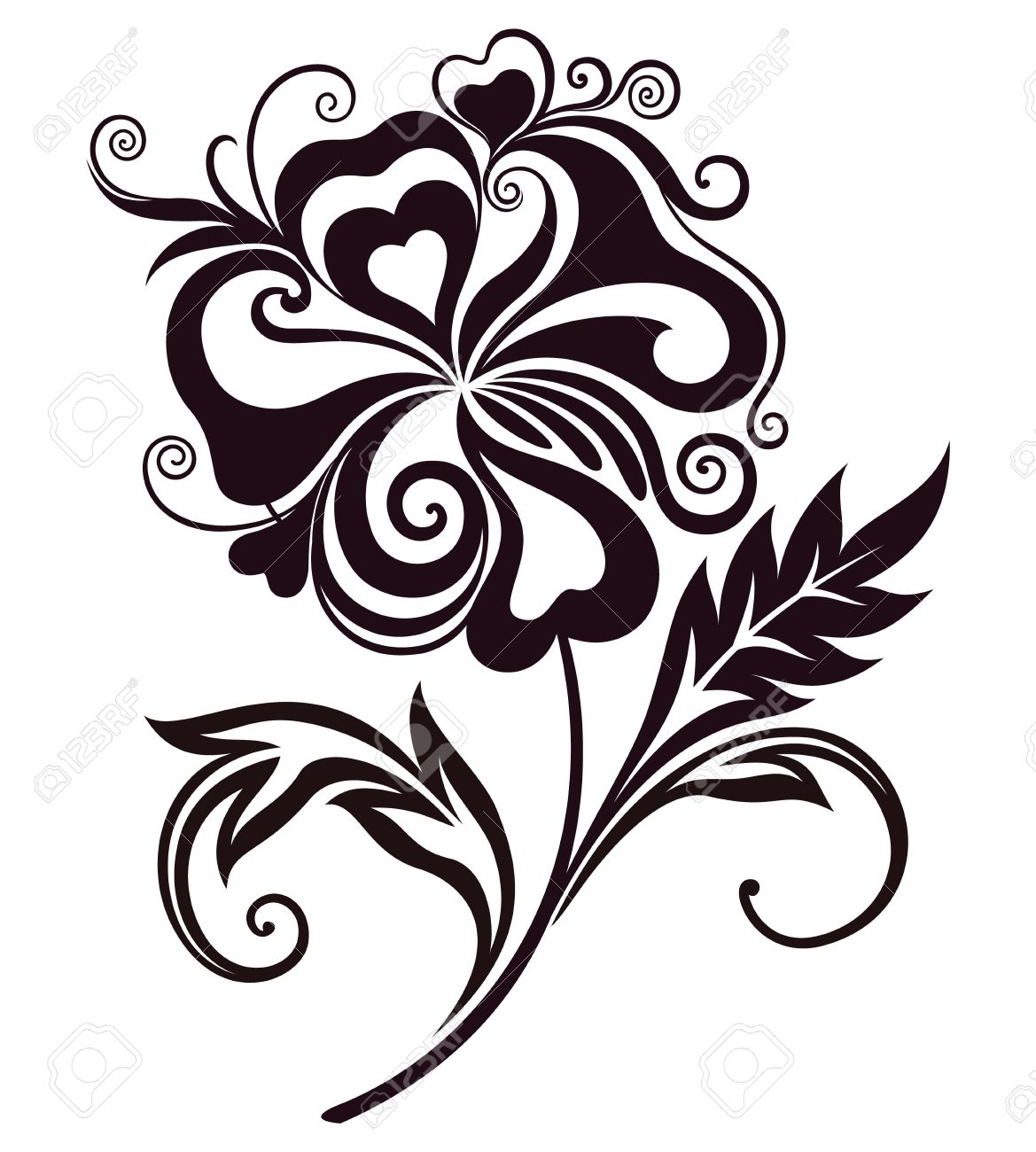 Floral Art Line Design : Abstract flower clipart clipground