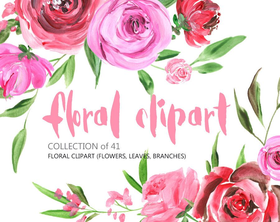 Flowers clipart: acrylic watercolor Roses Peony Flowers Free.