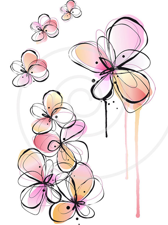 Abstract spring flowers, digital clip art, floral clipart.