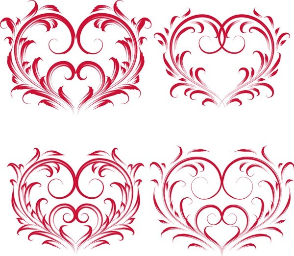 Red Valentine Floral Heart Vector Graphics.