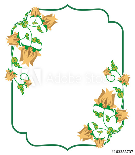 Heart shaped label with abstract flowers. Vector clip art.
