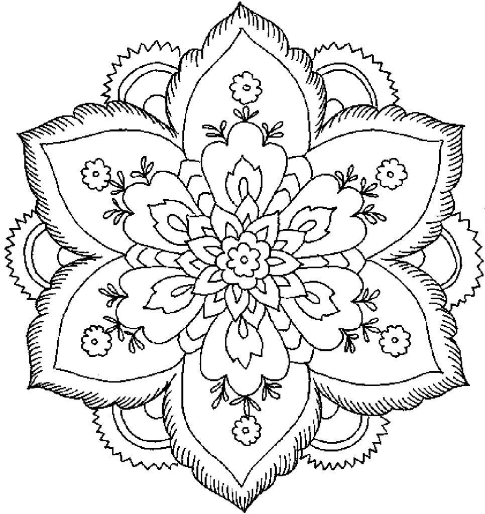 Free Coloring Pages For Adults Abstract Flowers, Download.