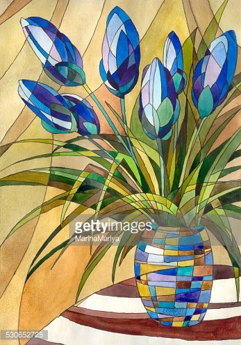 Abstract flowers in a vase Clipart Image.