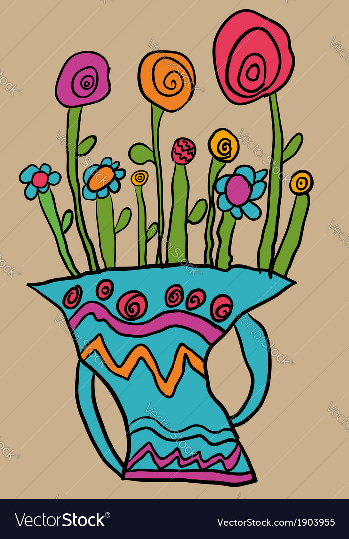 Abstract flowers in a vase.