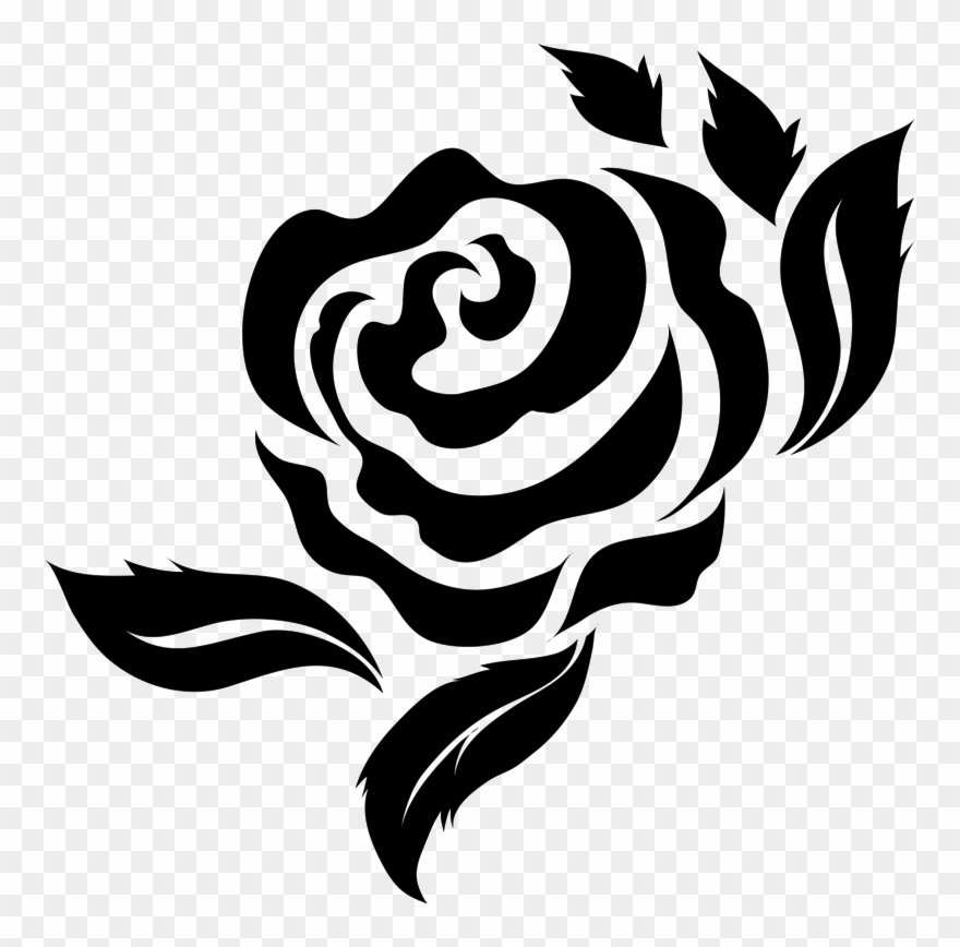 Bold Rose With Leaves Rubber Stamp.
